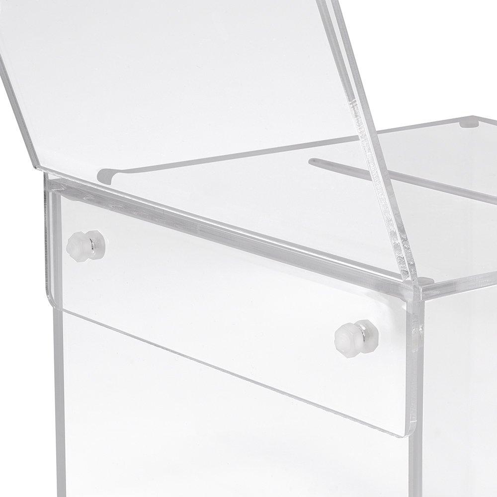 Losbox in vetro acrilico in 200 x 200 x 200 mm con serratura e targhetta 210 x 210 mm Zeigis/®//scatola per donazioni//scatola gioco di profitto//trasparente//acrilico//Plexiglas/®//chiudibile//bloccabile