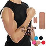 CFR Pro Sport Tapges Elastic Pre-cut X & Y Shape Medical Grade Muscle Bandage Elbow Arm Shoulder Support Straps Injuries Recovery Water Resistant Pain Relief Tap for Athletes Beige,10 Pcs