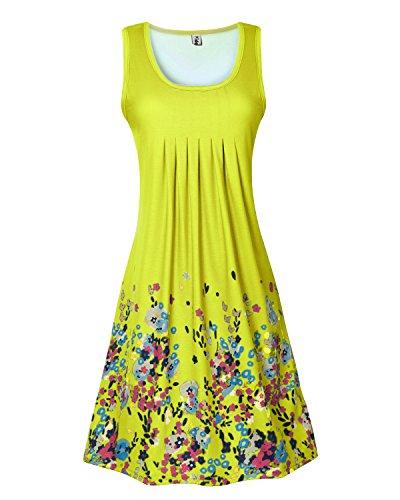 Yidarton Vestido Sin Mangas De Las Mujeres De Cuello Redondo Suelta Vestido De Impresión Verano amarillo