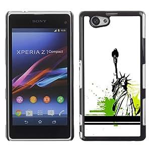Be Good Phone Accessory // Dura Cáscara cubierta Protectora Caso Carcasa Funda de Protección para Sony Xperia Z1 Compact D5503 // Statue Of Liberty Color Splash