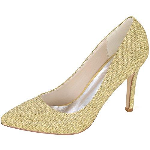 Loslandifen Scarpe Da Sera Da Donna Scarpe A Punta Tacco Alto In Raso Scarpe Da Sposa Glitter Oro