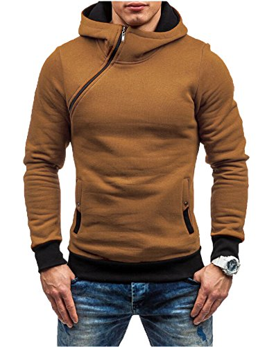 Zuckerfan Men's Hipster Hip Hop Gym Sports Long Sleeve Zipper Casual Hoodie T-shirt(Camel,Large) (Hipster Mens)