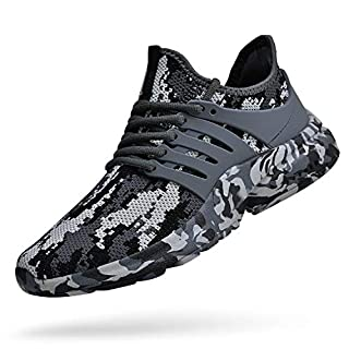 Feetmat Mens Running Tennis Work Shoes Slip On Resistant Sneakers Lightweight Breathable Athletic Fashion Zapatos Gym Sport Non Slip Casual Walking Shoes for Men Camouflage Grey 8