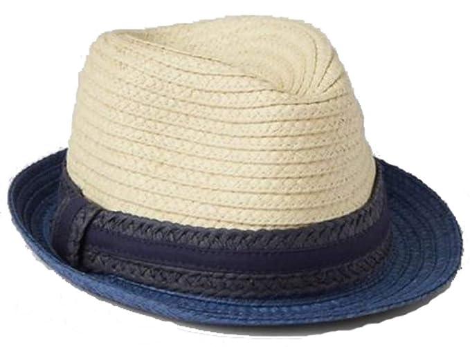BabyGap Boys Blue Tan Colorblock Natural Straw Fedora Hat S M at ... 3971f3baa742
