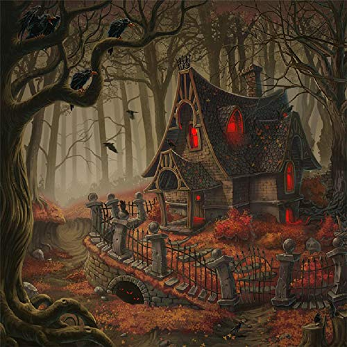 MatureGirl Embroidery Diamond Painting, Halloween House in The Forest Crystal Rhinestone DIY 5D Embroidery Paintings Drill Arts Craft for Home Wall Decor (40X40CM)