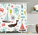 Nautical Shower Curtains Fabric Shower Curtain by Ambesonne, Whale Shark Seahorse Sea Creatures Rope and Anchor Octopus Coral Crab Marine Lighthouse Ocean Theme Home Decor Bathroom Nautical Coastal, Coral Turquoise Brown