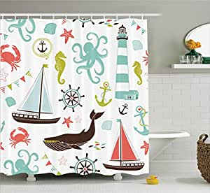 "60x72/"" Bathroom Shower Curtain Decor Sea View Room Ocean Waterproof Fabric Hooks"