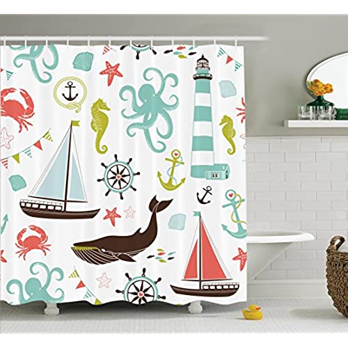 Fabric Shower Curtain By Ambesonne Whale Shark Seahorse Sea Creatures Rope And Anchor Octopus Coral Crab Marine Lighthouse Ocean Theme Home Decor Bathroom