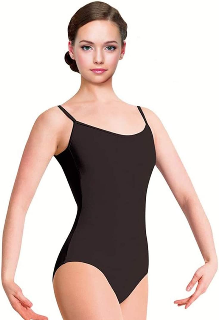 Maillot de Danza Ballet Gimnasia Leotardo Body Clásico Elástico para Mujer y Niña Sin Mangas Cuello Redondo