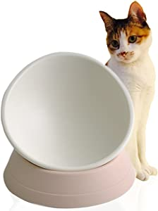 PETHOUZZ Flat Face Cat Food Bowl, Adjustable Tilt Angle - Protect Pet's Spine, Rasied and Non-Toxic Silica Gel Bowl fot Puppies and Cats