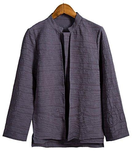 Aishang Men's Hemp Hi-Low Hem Light Double Layer Blazer Jacket with Stand Collar (Hemp Layer Double)