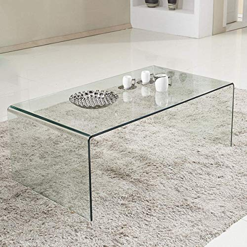 Tangkula Glass Coffee Table Modern Home Office Furniture Clear Tempered Glass End Table International Occasion Tea Table Waterfall Table with Rounded Edges (Clear)