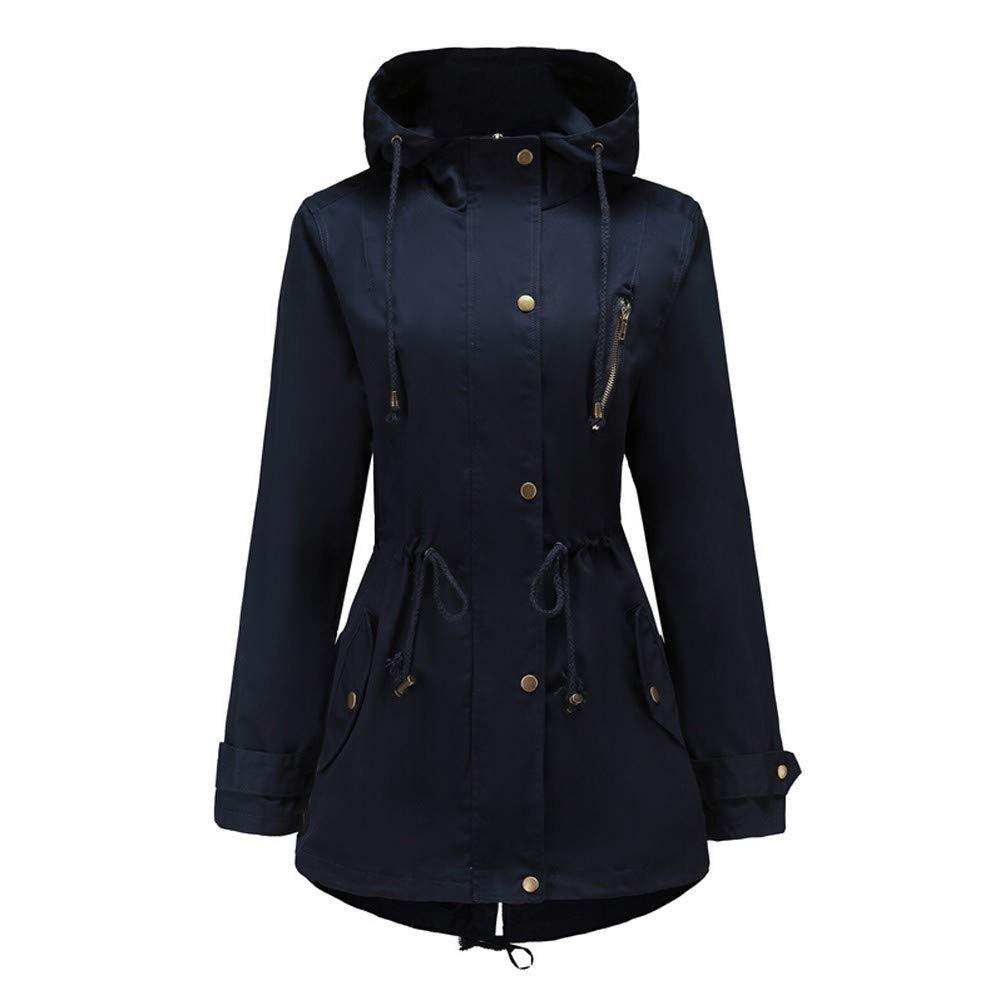 FarJing Coats for Women,Clearance Sale Womens Coat Plus Size Long Sleeve Solid Top Overcoat Thicker Outwear Jacket (XL,Navy