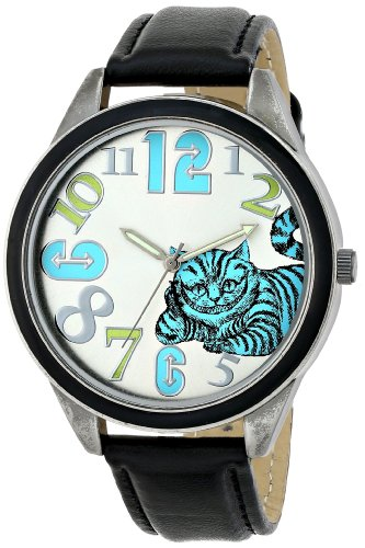 - Alice in Wonderland Women's AL1002B Cheshire Cat Watch with Black Strap
