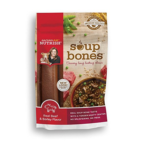 Rachael Ray Nutrish Soup Bones Dog Treats, Real Beef & Barley Flavor, 3 Bones, 6.3 oz, Pack of 8