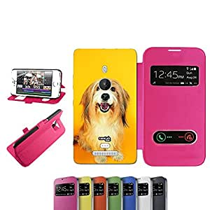 caselabdesigns Flip Carcasa Funda Hairy Dog para Nokia Lumia 925Fucsia–Funda protectora plegable de rosa