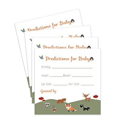 Amazon com: Woodland Predictions for Baby Shower Games Set of 25