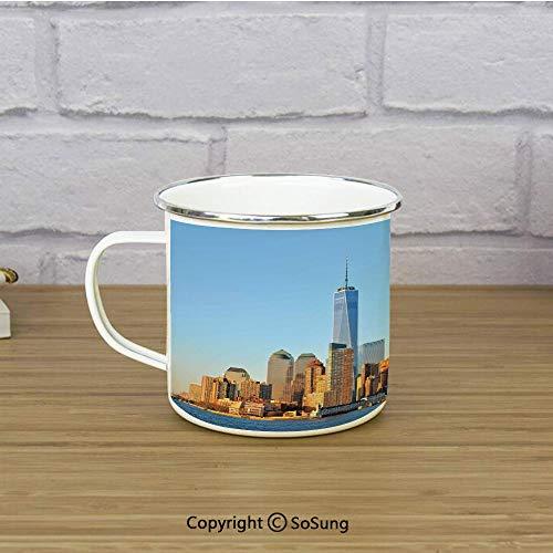 - Landscape Travel Enamel Mug,New York City Skyline USA Landmark Buildings Skyscrapers Modern Urban Life,11 oz Practical Cup for Kitchen, Campfire, Home, TravelLight Blue Orange