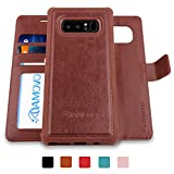 (US) AMOVO Galaxy Note 8 Case [2 in 1], Samsung Galaxy Note 8 Wallet Case [Detachable Wallet Folio] [Premium Vegan Leather] Samsung Note 8 Flip Cover with Gift Box Package (Brown)