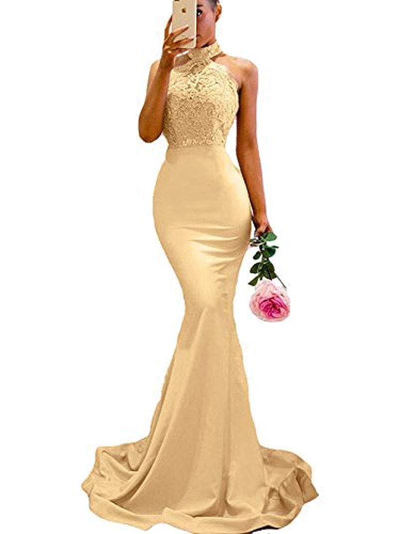Champagne MariRobe Womens Halter Neck Mermaid Appliques Lace Long Bridesmaid Dress Formal