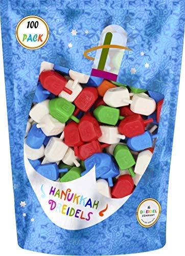 Hanukkah Dreidels Bulk Pack Multi-Color Plastic Draydels - Includes 10 Dreidel Game Instruction Cards (Plastic Dreidel)