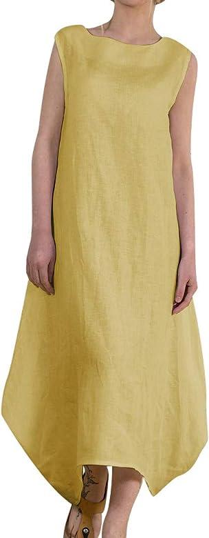 VEMOW Falda Larga Moda Mujer sólido O-Cuello sin Mangas de algodón ...