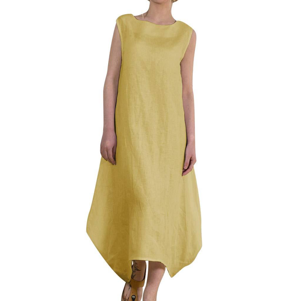 Women Linen Print O-Neck Sleeveless Dress Fashion Women's Irregular Casual Dress Plus Size (Yellow, S)