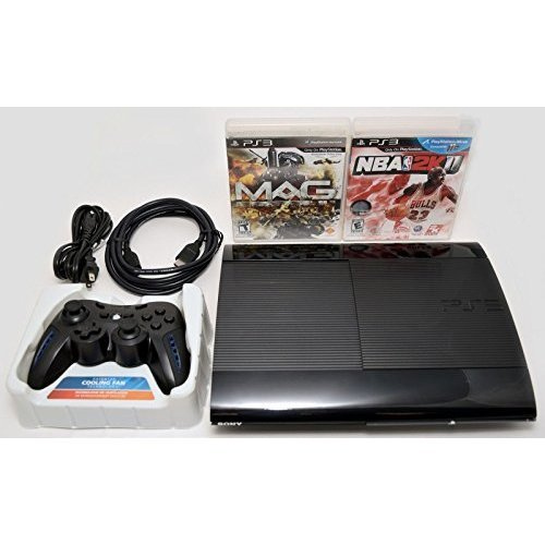 (Sony Playstation 3 Super Slim 250GB Game Console System Bundle PS3 w/2 Games MAG NBA 2K11)