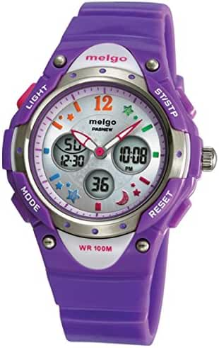 Jewtme Water-proof 100m Dual Time Unisex Child Outdoor Sport Watch Purple