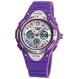 Jewtme Pasnew Boys Grils LED Waterproof 100m Dual Time Unisex Children Outdoor Sport Watch (Purple)