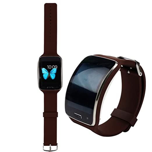 Malloom reemplazo correa de reloj pulsera muñequera bandas para Samsung Galaxy Gear S R750 (negro)