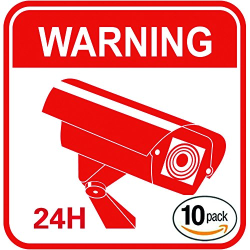 Video Surveillance Warning Stickers  [PACK OF 10] Security Camera Decals  CCTV Vinyl & Weatherproof Signs for Burglary & Theft Prevention  No Trespassing, 24 Hour Alarm, 4 x 4 Inches