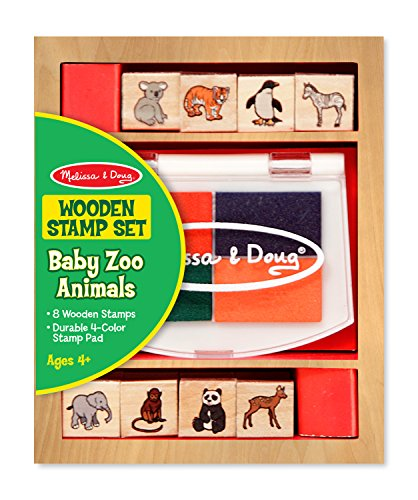 Melissa & Doug Baby Zoo Animals Wooden Stamp Set: 8 Stamps and 4-Color Stamp Pad (Melissa Doug Pets Mix)