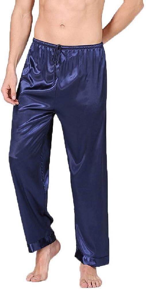 Men's Classic Silk Loungewear Pajama Pants Satin Sleepwear Lightweight Elastic Waist Soft Pj Bottoms