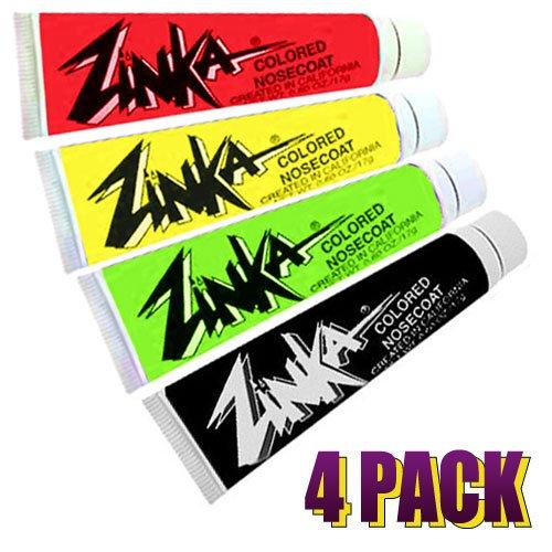 Zinka Colored Sunblock Zinc Waterproof Nosecoat 4 Pack Bundle - Rasta