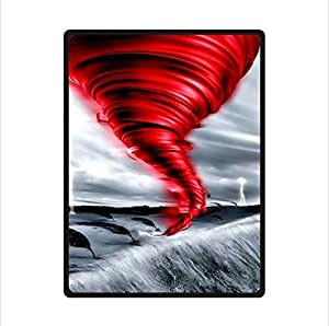 The Red Tornado On The Grassland-Tornado Custom Fleece Blanket 58 x 80 (Large)