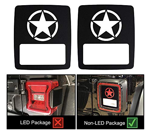 Star Antenna Ring - VroomTec Automotive Jeep Wrangler Aluminum Tail Light Rear Light Guard Cover for 2018+ JL JLU Sport (New Body Style)| Fitment for Non-LED Sport Models Only