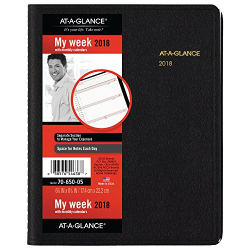 "AT-A-GLANCE Weekly / Monthly Appointment Book / Planner, January 2018 - December 2018, 6-7/8"" x 8-3/4"" , Black (7065005)"