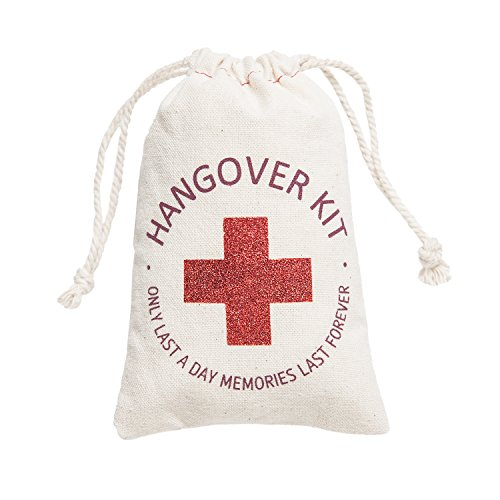 Ling's moment 10pcs 4x6 inches Red Glitter Cross Bachelorette Party Hangover Kit Favor Bag - Only last a day memories last forever Recovery Kit Bags for Wedding Bride Shower Hen's Party Welcome Favors