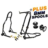Venom Motorcycle Front+Rear Dual Lift Stand - w/ Spools For Honda CBR600RR 2003-2011