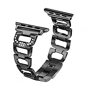 Secbolt Bling Band Compatible Apple Watch Band 38mm 40mm iWatch Series 4, Series 3, Series 2, Series 1, Diamond Rhinestone Stainless Steel Metal Wristband Strap, Black