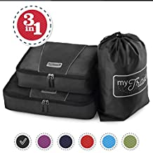 MyTravelUp - TRAVEL PACKING CUBES for everyone who loves traveling, HIGH QUALITY durable material, BAG for LAUNDRY/SHOES. This travel set will be a SMART ORGANIZER for clothes (3, Black)