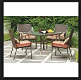 Mainstays Alexandra Square 5-Piece Patio Dining Set, Red Stripe with Butterflies, Seats 4 For Sale