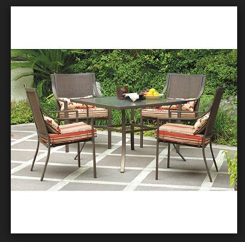 Oasis 5 Piece - Mainstays Alexandra Square 5-Piece Patio Dining Set, Red Stripe with Butterflies, Seats 4