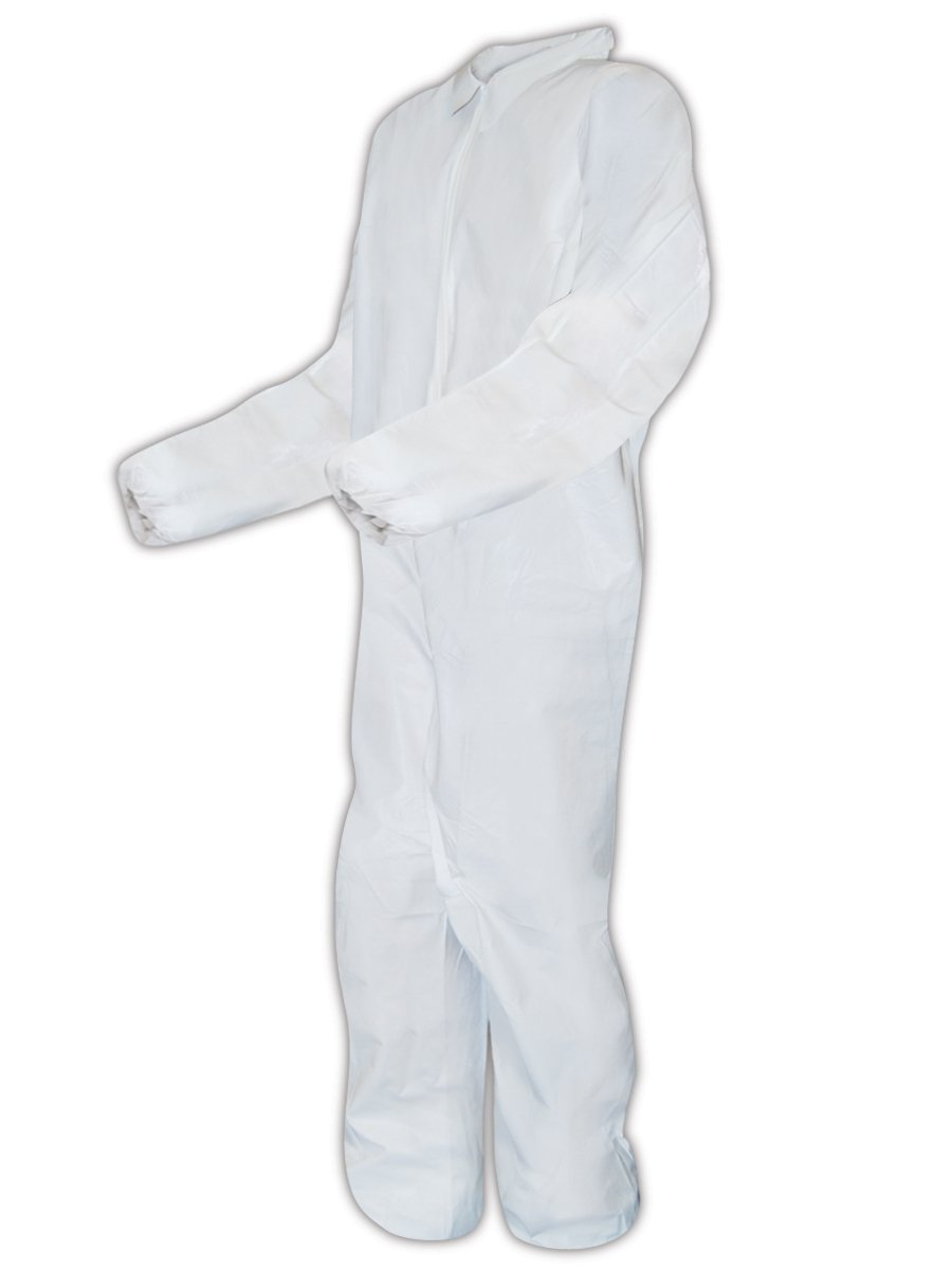 Magid CVC8MCP EconoWear Microporous Disposable Coverall with Elastic Wrists and Ankles, 5X-Large, White (Case of 25)