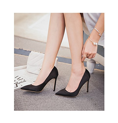 Feminine Elegant Pointed-Toe High Heel Shoes Red Satin Shallow Mouth Sandals 8.5cm/10.5cm Wedding Shoes Sexy Feet Bare Shoes (Color : Black 10.5cm, Size : 34)