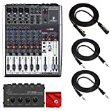 Behringer Xenyx 1204USB 8-channel USB Mixer with Behringer Microamp HA400 Headphone Amplifier and Premium 10' XLR Mic Cable and 2X 10' TRS Cables and Deluxe Microfiber Cleaning Cloth