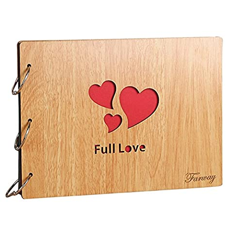 Farway DIY Photo Album with Plain Black Pages Scrapbooking Hollow Wood Cover 3-Ring Binder Scrapbook for Anniversary Wedding Friend Family Graduation Travel Memory (Full - Wood Photo Album Book