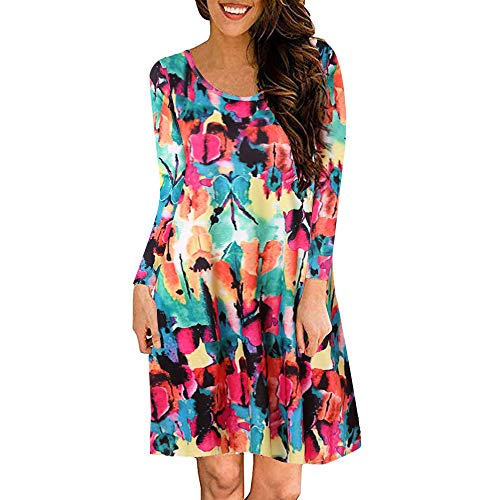 kaifongfu Women Round Neck Dress Long Sleeve Print Big Swing Dress(Red,S) - Garden Print Scrub Jacket