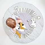 90CM Kids Play Game Mats Round Carpet Rugs Cotton Animals Play Mat Newborn Infant Crawling Blanket Floor Carpet Baby Room Decor White Grey (Lion, Diameter 90cm) For Sale